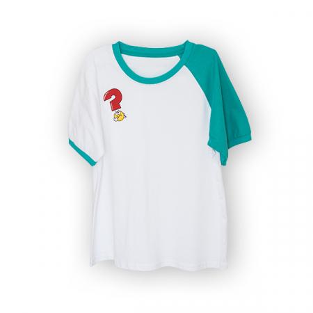 Tricou alb cu guler contrastant [3]