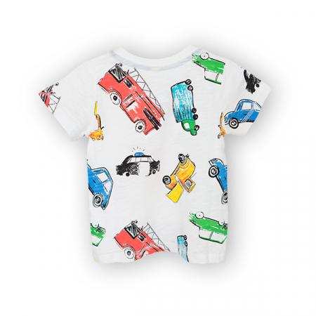 Tricou alb cu imprimeu masini1