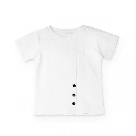 Tricou alb cu nasturi si cute0