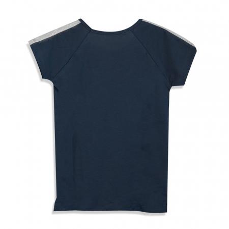 Tricou cu imprimeu si aplicatii culoare albastru [1]