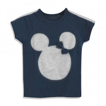 Tricou cu imprimeu si aplicatii culoare albastru [0]