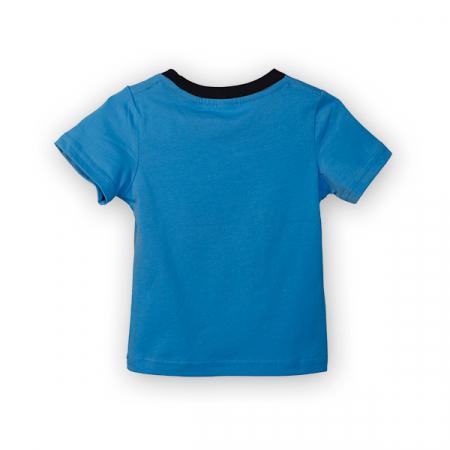 Tricou albastru cu imprimeu si guler contrastant [1]