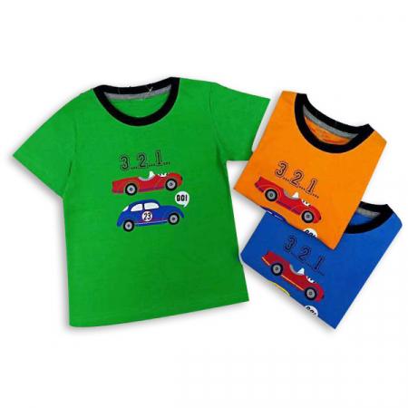 Tricou verde cu imprimeu si guler contrastant [5]