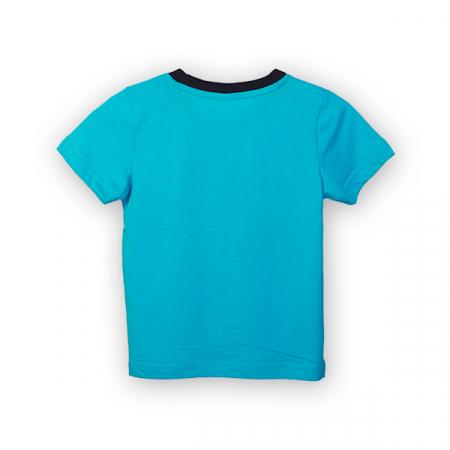 Tricou albastru cu text si guler contrastant4