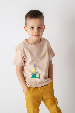 Tricou bej cu imprimeu dinozaur0