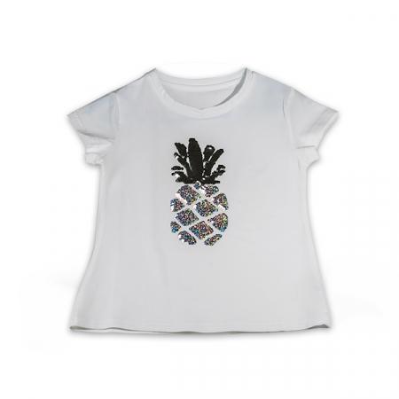 Tricou cu imprimeu ananas din paiete reversibile1