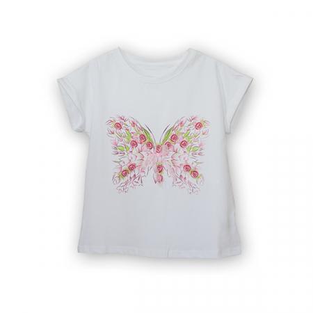 Tricou cu imprimeu fluturas si broderie5