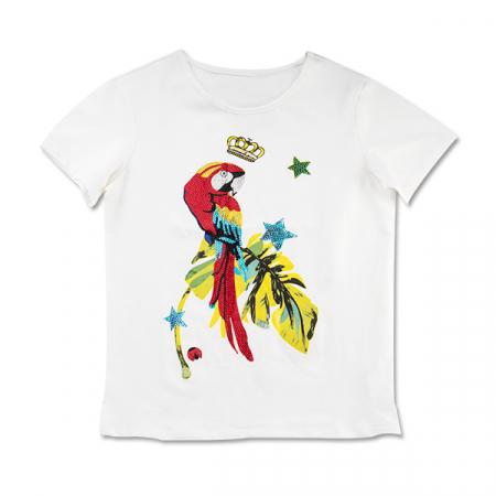 Tricou cu imprimeu papagal si pietricele0