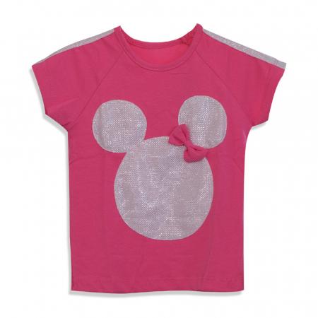 Tricou cu imprimeu si aplicatii culoare fucsia [4]