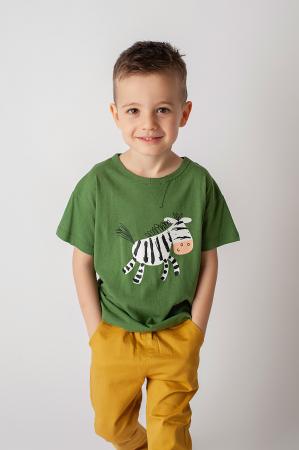 Tricou verde cu imprimeu zebra0