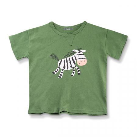 Tricou verde cu imprimeu zebra3
