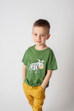 Tricou verde cu imprimeu zebra2