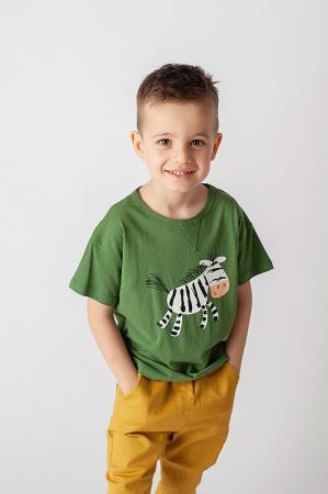 Tricou verde cu imprimeu zebra1
