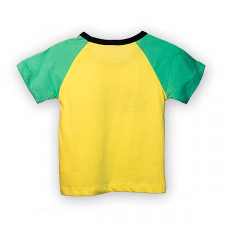 Tricou galben cu guler contrastant4