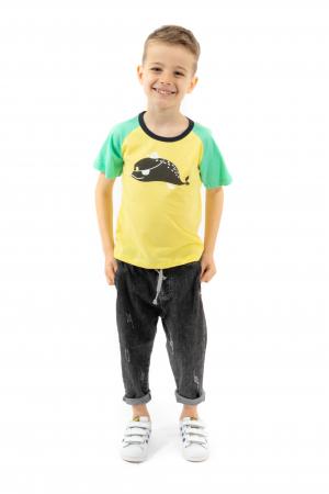 Tricou galben cu guler contrastant0