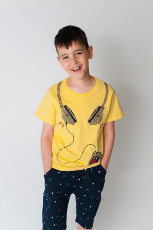 Tricou galben cu imprimeu [0]