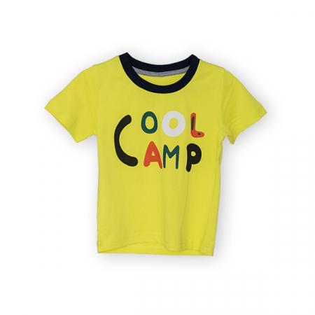 Tricou galben cu text si guler contrastant3