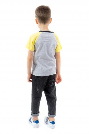 Tricou gri cu guler contrastant [2]