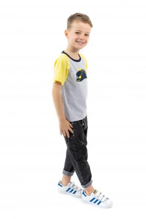 Tricou gri cu guler contrastant [1]