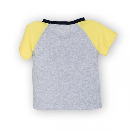 Tricou gri cu guler contrastant [4]