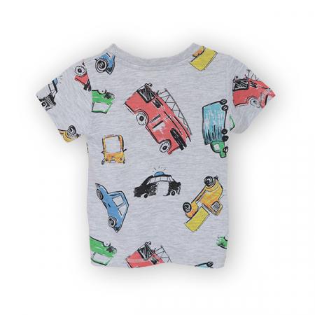 Tricou gri cu imprimeu masini1
