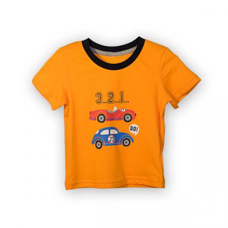 Tricou portocaliu cu imprimeu si guler contrastant0