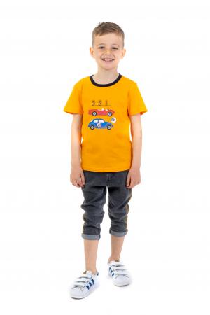 Tricou portocaliu cu imprimeu si guler contrastant [0]
