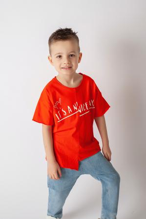 Tricou portocaliu cu text1