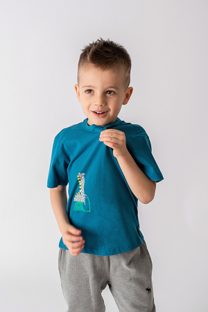 Tricou turcoaz cu imprimeu dinozaur0