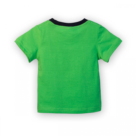 Tricou verde cu imprimeu si guler contrastant [4]