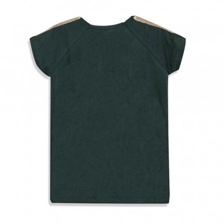 Tricou cu imprimeu si aplicatii culoare verde militar1
