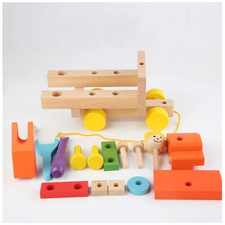 Masina colorata din lemn cu instrumente - jucarie de tras [3]