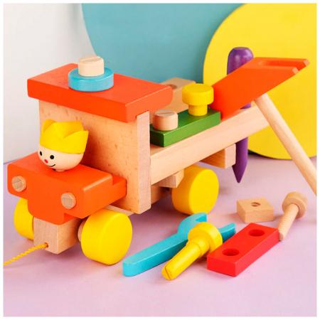 Masina colorata din lemn cu instrumente - jucarie de tras [2]
