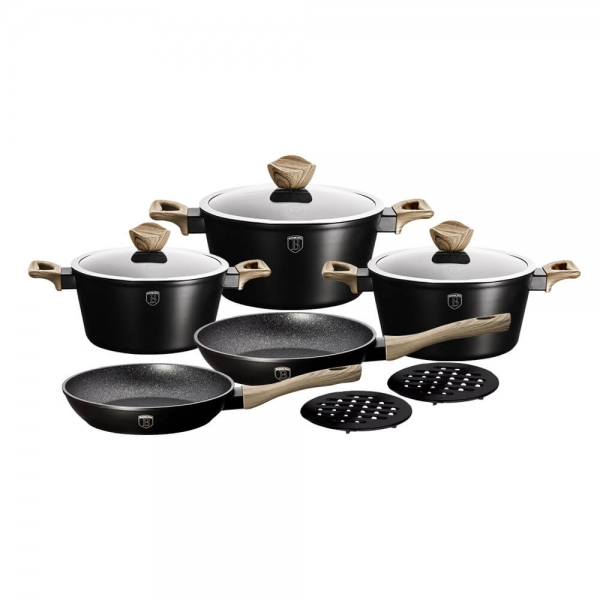 Set oale si tigai marmorate (10 piese) din aluminiu forjat Ebony Maple Collection Berlinger Haus BH 1533