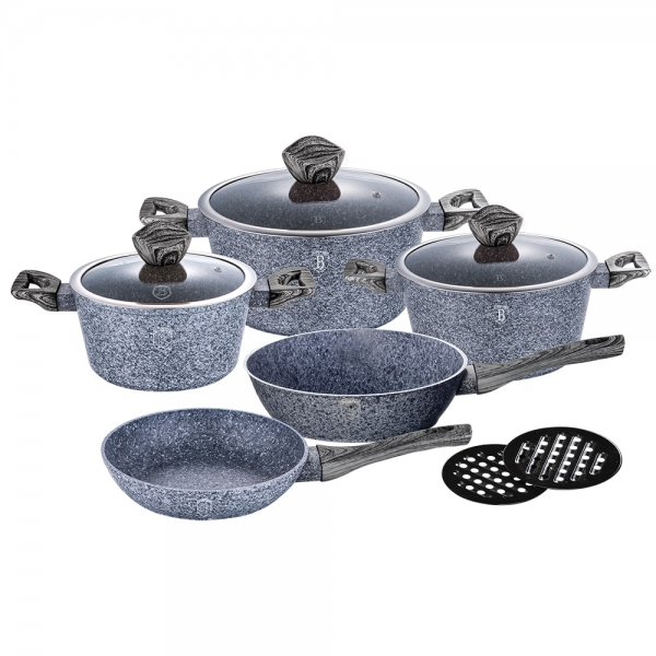 Set oale si tigai marmorate (10 piese) din aluminiu forjat Forest Dark Gray Line Berlinger Haus BH 1576 1
