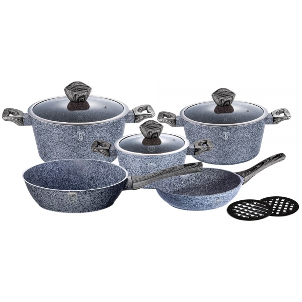 Set oale si tigai marmorate (10 piese) din aluminiu forjat Forest Dark Gray Line Berlinger Haus BH 1576 0