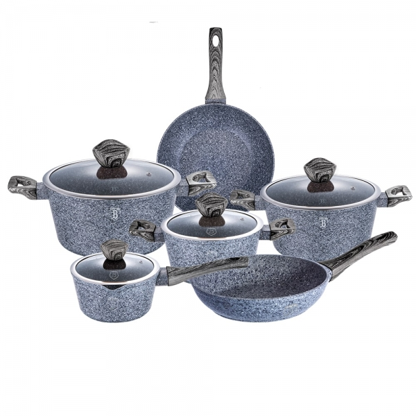 Set oale si tigai marmorate (10 piese) din aluminiu forjat Forest Dark Gray Line Berlinger Haus BH 1577 0