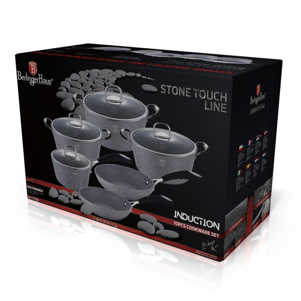 Set oale si tigai marmorate (10 piese) din aluminiu forjat Gray Stone Touch Line Berlinger Haus BH 1170N 2