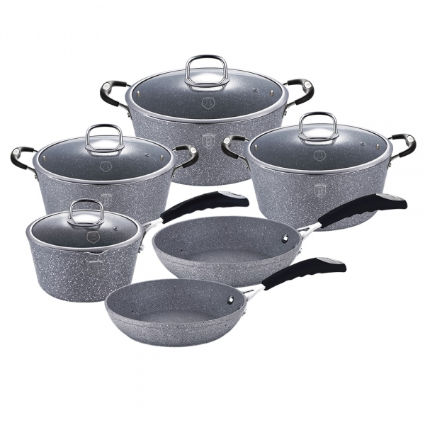 Set oale si tigai marmorate (10 piese) din aluminiu forjat Gray Stone Touch Line Berlinger Haus BH 1170N 0