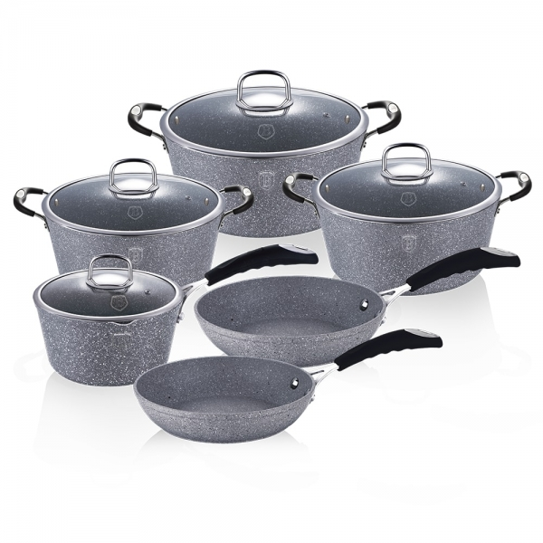 Set oale si tigai marmorate (10 piese) din aluminiu forjat Gray Stone Touch Line Berlinger Haus BH 1170N 1