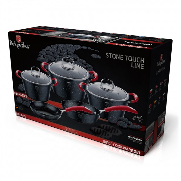 Set oale si tigai marmorate (10 piese) din aluminiu forjat Gray Stone Touch Line Black Edition Berlinger Haus BH 1166N 1