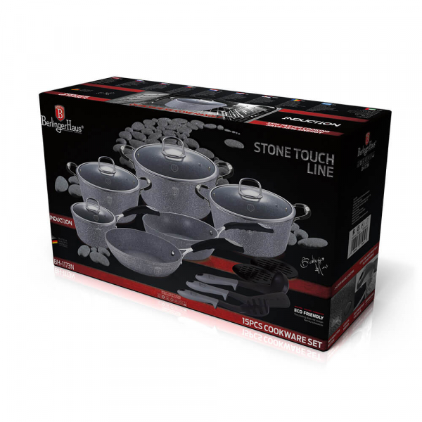 Set oale si tigai marmorate (15 piese) din aluminiu forjat Gray Stone Touch Line Berlinger Haus BH 1173N 2