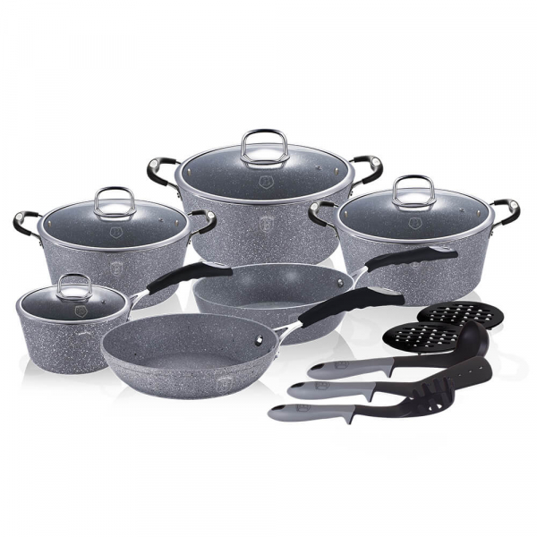 Set oale si tigai marmorate (15 piese) din aluminiu forjat Gray Stone Touch Line Berlinger Haus BH 1173N 1