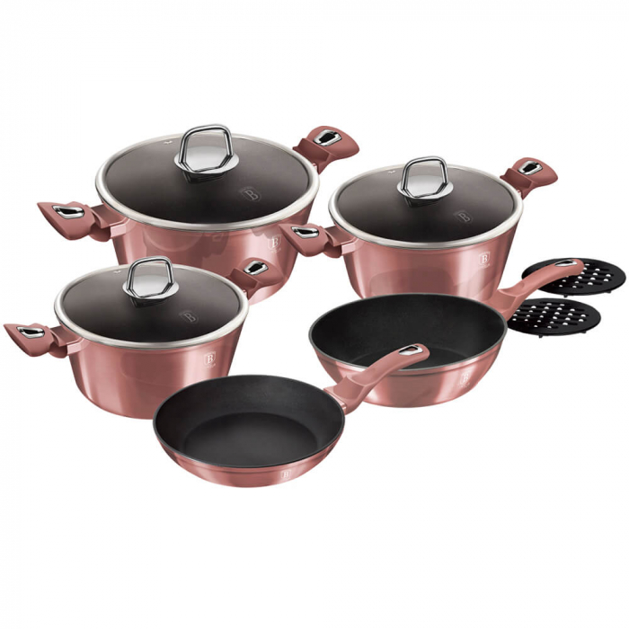 Set oale si tigai marmorate (10 piese) din aluminiu forjat I-Rose Collection Berlinger Haus BH 6043 1