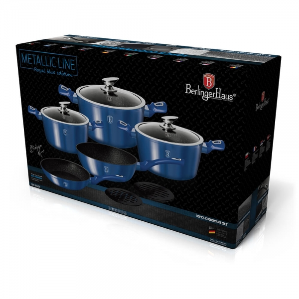 Set oale si tigai marmorate (10 piese) din aluminiu forjat Metallic Line Royal Blue Edition Berlinger Haus BH 1658N 1