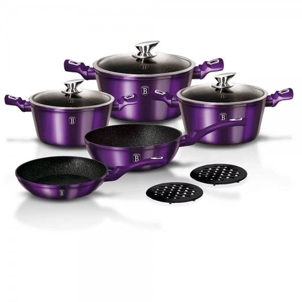 Set oale si tigai marmorate (10 piese) din aluminiu forjat Metallic Line Royal Purple Edition Berlinger Haus BH 1661N 0