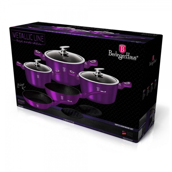 Set oale si tigai marmorate (10 piese) din aluminiu forjat Metallic Line Royal Purple Edition Berlinger Haus BH 1661N 1