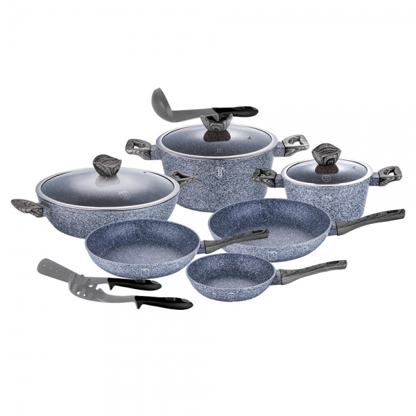 Set oale si tigai marmorate (12 piese) din aluminiu forjat Forest Dark Gray Line Berlinger Haus BH 1584 0