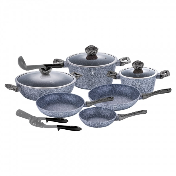 Set oale si tigai marmorate (12 piese) din aluminiu forjat Forest Dark Gray Line Berlinger Haus BH 1584 1