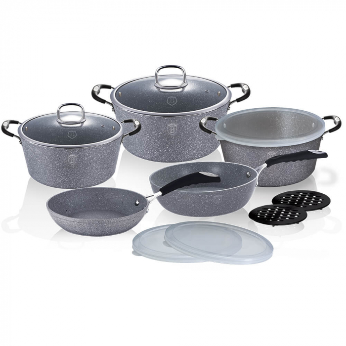 Set oale si tigai marmorate (13 piese) din aluminiu forjat Gray Stone Touch Line Berlinger Haus BH 6176 [0]